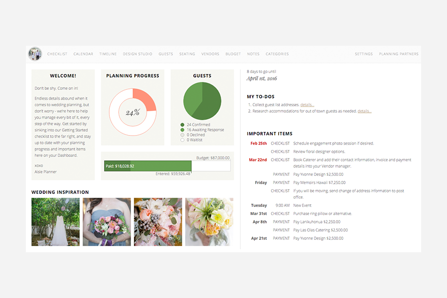 Aisle Planner online wedding planning platform, dashboard